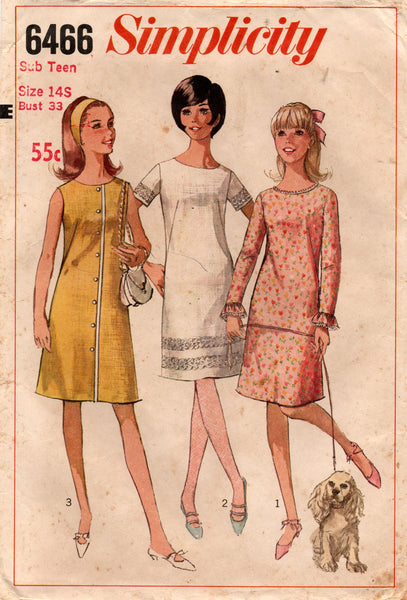 McCall's 6466 Sub Teen Girls Shift Dress 1960s Vintage Sewing Pattern Size 14S Bust 33 inches