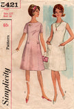 Simplicity 5421 Teens / Womens Princess Seamed Dress 1960s Vintage Sewing Pattern Size 12T Bust 32 Inches