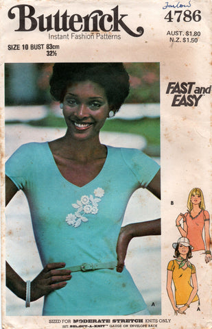 Butterick 4786 Womens EASY Stretch T Shirt 1970s Vintage Sewing Pattern Size 10 Bust 32 1/2 Inches