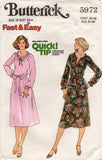 Butterick 5972 EASY Womens Peasant Dress Top & Skirt 1970s Vintage Sewing Pattern Size 12 Bust 34 Inches