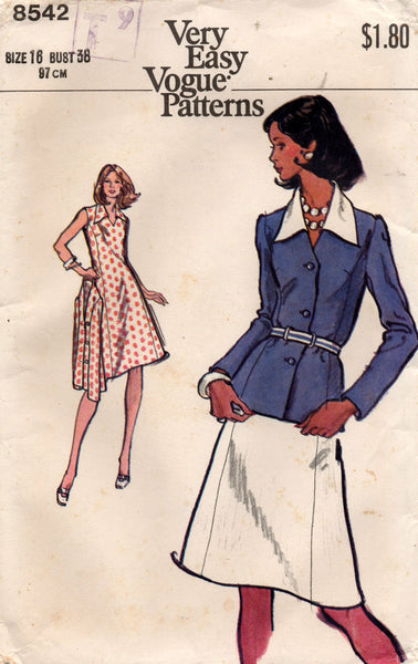 Vogue 8542 Womens Wide Collar Sleeveless Princess Dress & Jacket 1970s Vintage Sewing Pattern Size 16 UNCUT Factory Folded