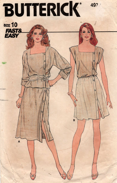 Butterick 4972 Womens Asymmetric Buttoned Top & Skirt 1980s Vintage Sewing Pattern Size 10 Bust 32 1/2 Inches