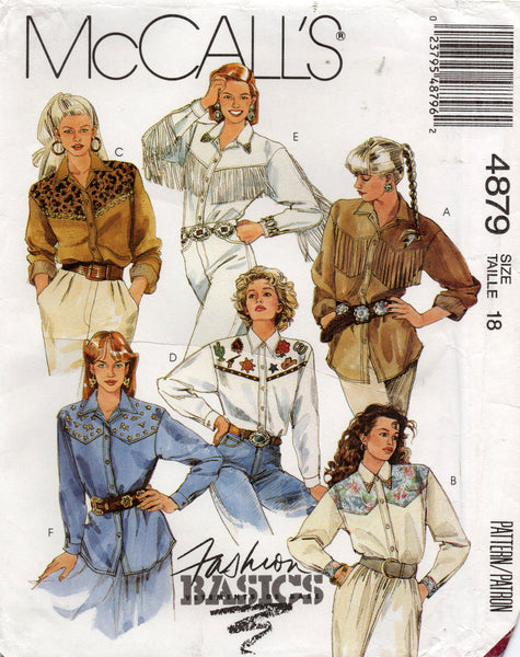 McCall's 4879 Womens Western Shirts 1990s Sewing Pattern Size 18 UNCUT Factory Folds