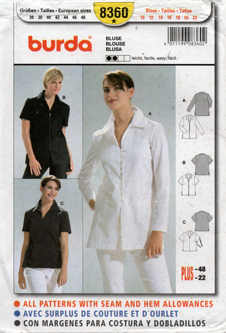 burda 8360 womens shirts oop