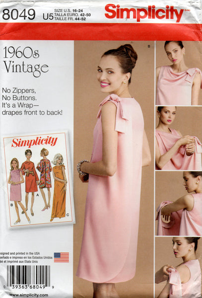 Simplicity K8049 Womens Back Wrap Dress with Shoulder Bow Reissued 1960s Sewing Pattern Size 16 - 24 UNCUT Factory Folded
