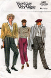 Very Easy Vogue 9417 Womens Pleated Pants 1980s Vintage Sewing Pattern Size 8 - 12 UNCUT Factory Folds