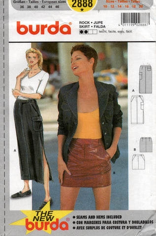 Burda 2888 Womens Cargo Mini Maxi Skirts 1990s Vintage Sewing Pattern Sizes 10 - 20 UNCUT Factory Folds