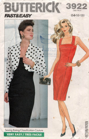 Butterick 3922 Womens Sheath Dress & Bolero 1980s Vintage Sewing Pattern Size 14, 16