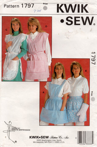 Kwik Sew 1797 Womens Aprons & Pot Holder 1980s Vintage Sewing Pattern UNCUT Factory Folds