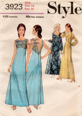 Style 3923 Womens Empire Waisted Evening Gown 1970s Vintage Sewing Pattern Size 14 UNCUT Factory Folded