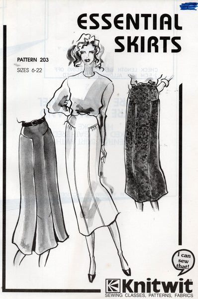 Knitwit 203 Womens Essential Stretch Skirts 1990s Vintage Sewing Pattern Size 6 - 22 UNCUT Factory Folded