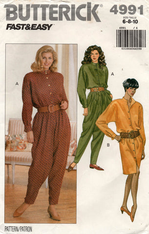 Butterick 4991 Womens EASY Dress Top & Dropped Crotch Pants 1990s Vintage Sewing Pattern Size 6 - 10