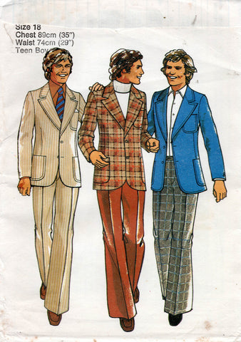 Style 4727 Teens Youths Small Mens Wide Lapel Suit 1970s Vintage Sewing Pattern Chest 35 Inches UNCUT Factory Folded