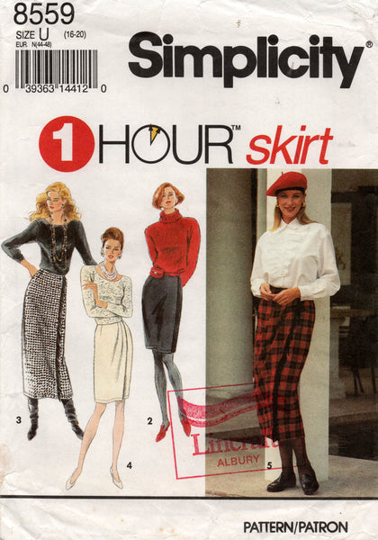 Simplicity 8559 Womens EASY Wrap Skirts  1990s Sewing Pattern Size 16 - 20 UNCUT Factory Folds