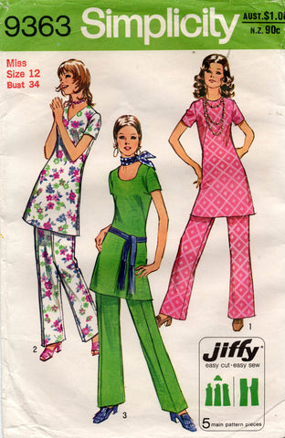 Simplicity 9363 Womens JIFFY Tunic Top & Pants 1970s Vintage Sewing Pattern Size 12 Bust 34 Inches