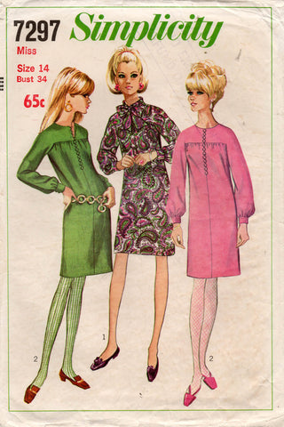 Simplicity 7297 Womens Kimono Sleeved Shift Dress 1960s Vintage Sewing Pattern Size 14 Bust 34 inches