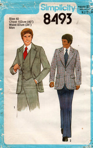 Simplicity 8493 Mens Retro 3 Piece Suit 1970s Vintage Sewing Pattern Size 40 UNCUT Factory Folded
