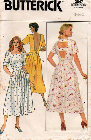 butterick 3847 80s dress