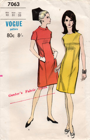 Vogue 7063 RARE Womens Sheath Dress with Pockets 1960s Vintage Sewing Pattern Size 10 Bust 31 inches UNCUT Factory Folded