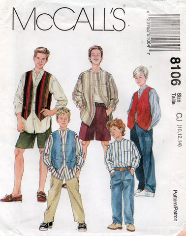 McCall's 8106 Teen Tween Boys Shirt Vest Pants & Shorts 1990s Vintage Sewing Pattern Size 10 - 14 UNCUT Factory Folds