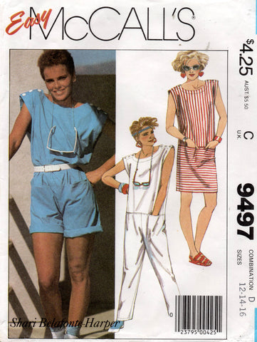 McCall's 9497 80s dress and jumpsuit