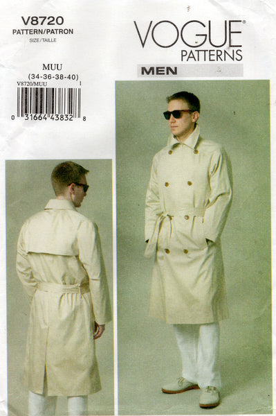 Vogue 8720 Men's Double Breasted Trench Coat & Belt Out Of Print Sewing Pattern Sizes 34 -  40 UNCUT Factory Folded