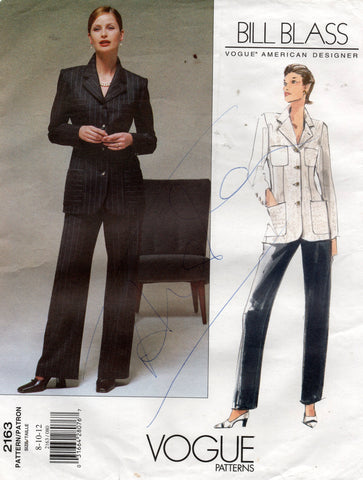 vogue 2163 bill blass 90s suit