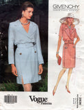 Vogue Paris Original 2936 GIVENCHY Womens Double Breasted Wrap Coatdress & Belt 1990s Vintage Sewing Pattern Sizes 8 - 12 UNCUT Factory Folds