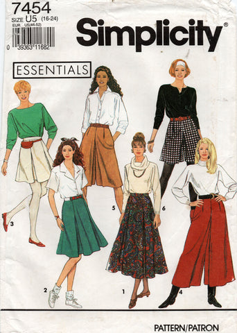 simplicity 7454 skirts and culottes 90s