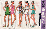 Simplicity 5696 Womens Stretch Mini Tennis Dress or Bathing Suit 1970s Vintage Sewing Pattern Size 14 Bust 36 inches UNCUT Factory Folded