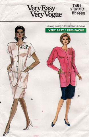 Very Easy Vogue 7451 Womens Slimline Jacket & Skirt 1980s Vintage Sewing Pattern Size 12, 14