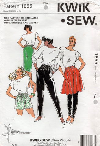 Kwik Sew 1855 Womens Stretch Skirts Shorts Pants & Leggings 1980s Vintage Sewing Pattern Size XS - L UNCUT Factory Folds
