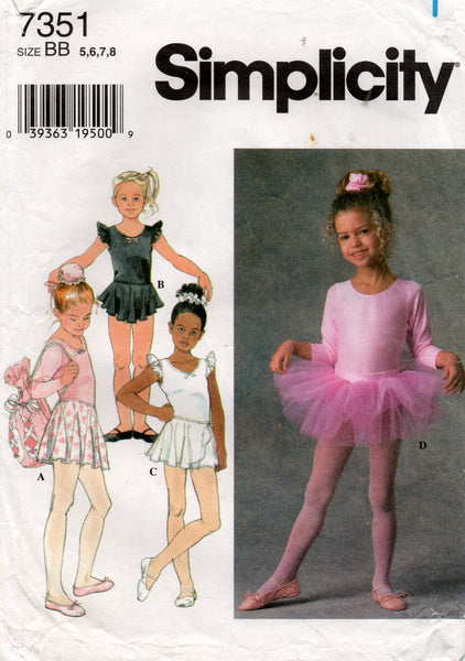 simplicity 7351 90s girls dance wear