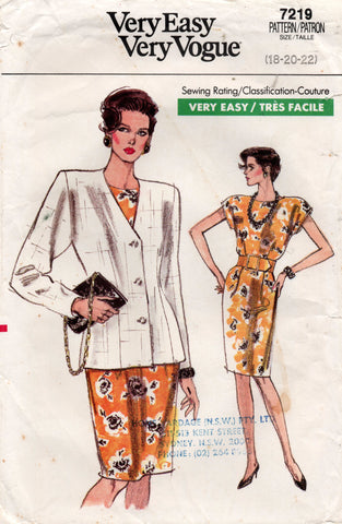 vogue 7219 80s dress and jacket