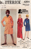 Butterick 4204 GAYLE KIRKPATRICK Womens Coatdress in 3 Lengths 1960s Vintage Sewing Pattern Bust 32 or 34 inches
