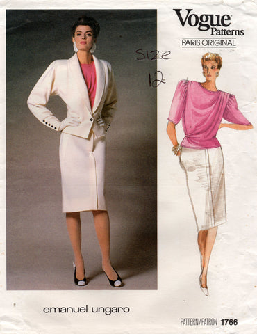 Vogue Paris Original 1766 EMANUEL UNGARO Womens Puff Sleeved Blouse & Skirt Suit 1980s Vintage Sewing Pattern Size 12 Bust 34 UNCUT Factory Folded
