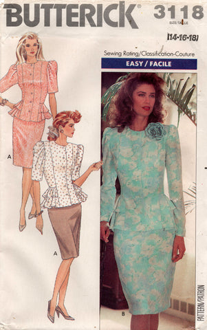 butterick 3118 80s top and skirt