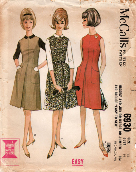 McCall's 6930 Womens EASY Dress & Blouse 1960s Vintage Sewing Pattern Size 14 Bust 34 inches UNCUT Factory Folded