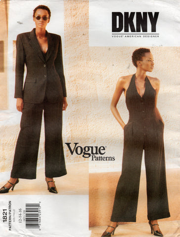 Vogue American Designer 1821 DKNY Womens Halter Jumpsuit & Jacket 1990s Vintage Sewing Pattern Size 12 - 16 UNCUT Factory Folds