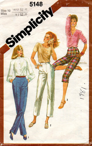 Simplicity 5148 Womens Straight Leg Pants in 3 Lengths 1980s Vintage Sewing Pattern Size 10