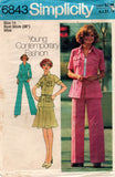 Simplicity 6843 Womens Safari Style Suit With Skirt Jacket & Pants 1970s Vintage Sewing Pattern Size 14 UNCUT Factory Folds
