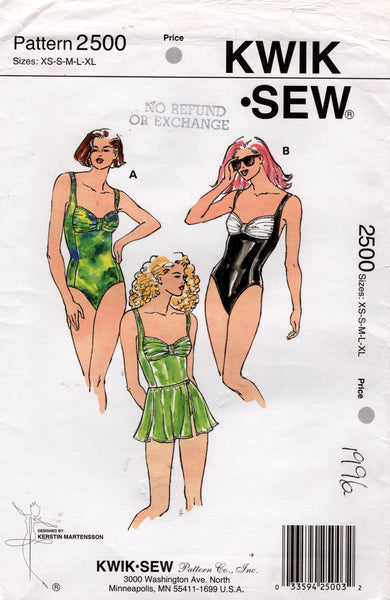 Kwik Sew 2500 Womens Stretch Ruched One Piece Swimsuits & Wrap Skirt 1990s Vintage Sewing Pattern Size XS - L UNCUT Factory Folded