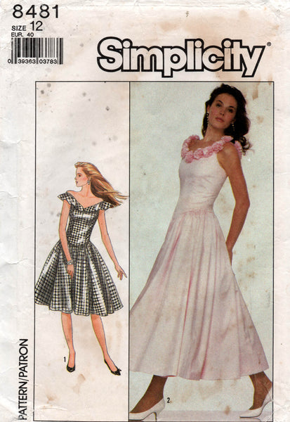Simplicity 8481 Womens Full Skirt Evening Dress 1980s Vintage Sewing Pattern Size 12 UNCUT Factory Folded