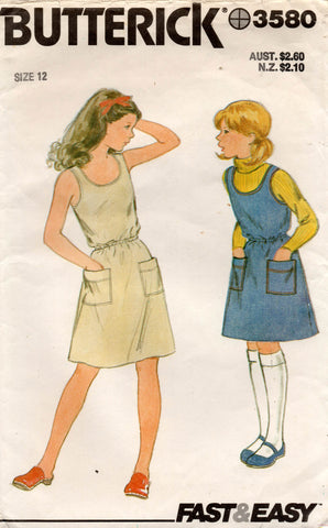 Butterick 3580 Teen Girls Jumper or Dress 1970s Vintage Sewing Pattern Size 12  Bust 30 Inches