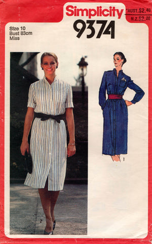 simplicity 9374 80s shirtdress
