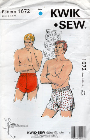 Kwik Sew 1672 Retro Mens Boxer Shorts 1980s Vintage Sewing Pattern Size S - XL UNCUT Factory Folded