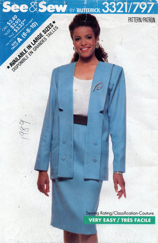 butterick see and sew 3321 skirt suit 80s