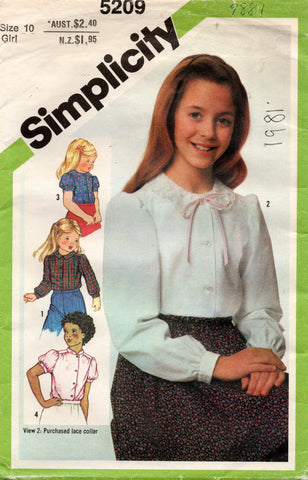 Simplicity 5209 Girls Puff Sleeved Blouses 1980s Vintage Sewing Pattern Size 10 UNCUT Factory Folded