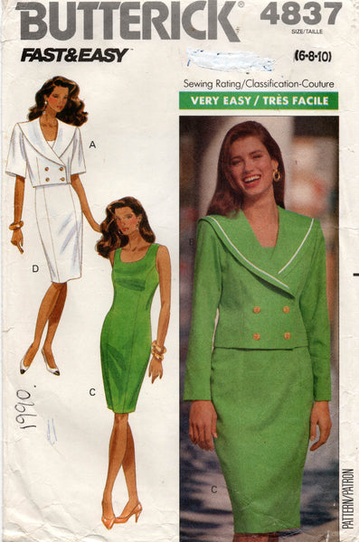 butterick 4837 90s dress and jacket