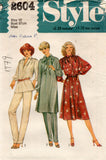 Style 2604 Womens Dress Top Tie & Pants 1970s Vintage Sewing Pattern Size 8 or 12 UNCUT Factory Folds